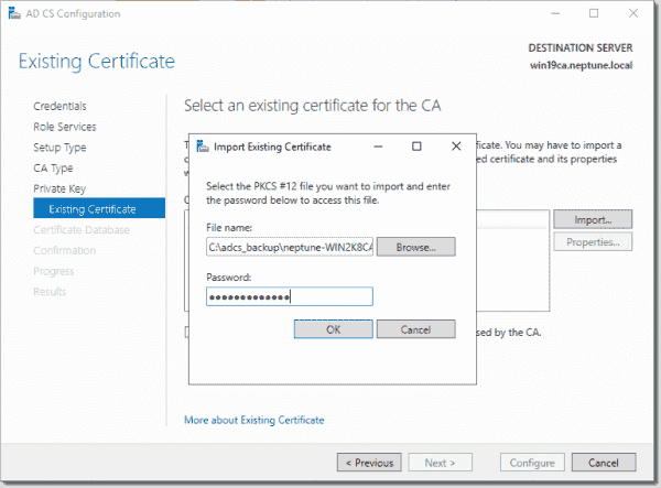 Specify the file name and password for the existing certificate