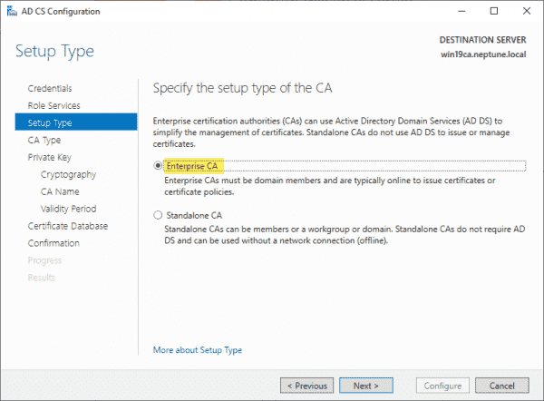 Specify the setup type of the CA
