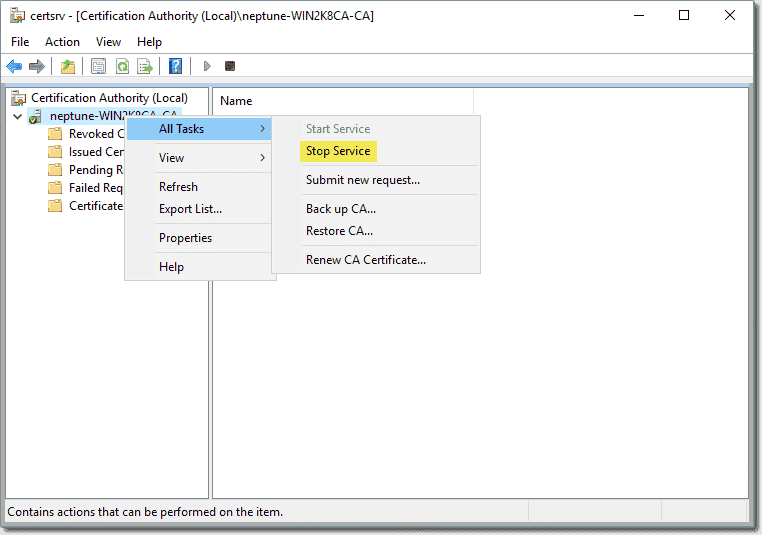 Stop the AD CS service before restoring