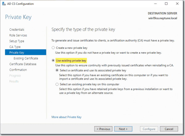 Use existing private key during the configuration of AD CS