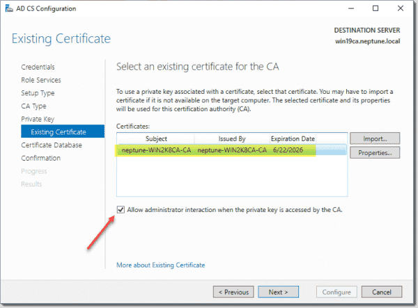Verify the imported certificate