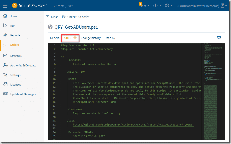 Viewing a script in the integrated script editor