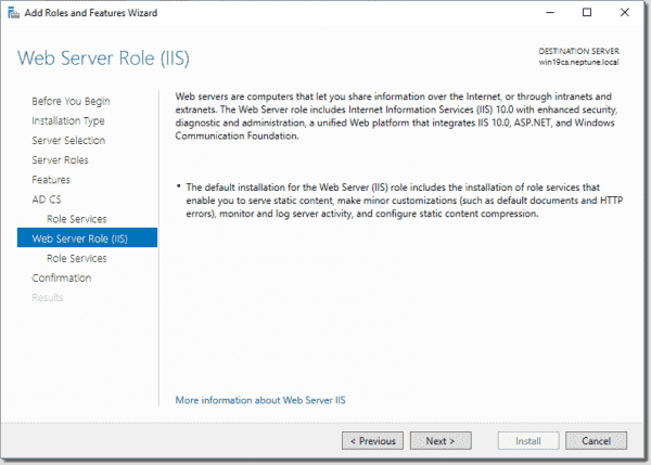 Web Server Role IIS overview