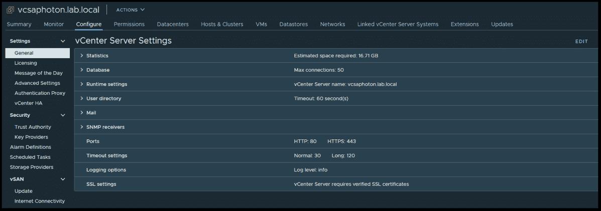vCenter server logs settings