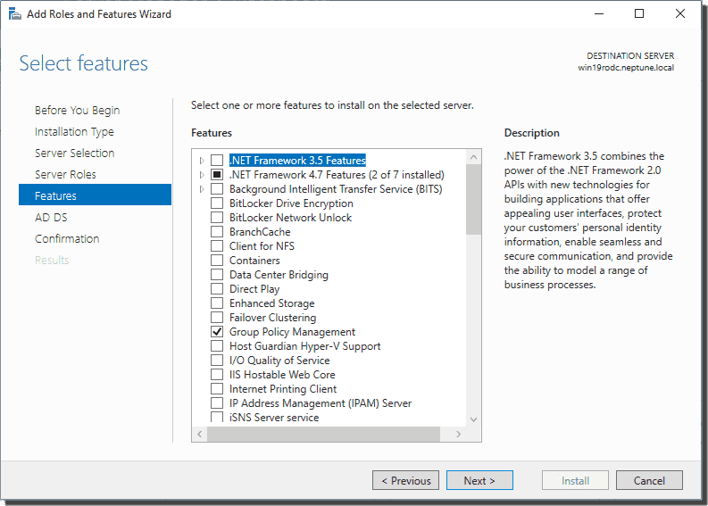 Add Feature screen when adding Active Directory Domain Services