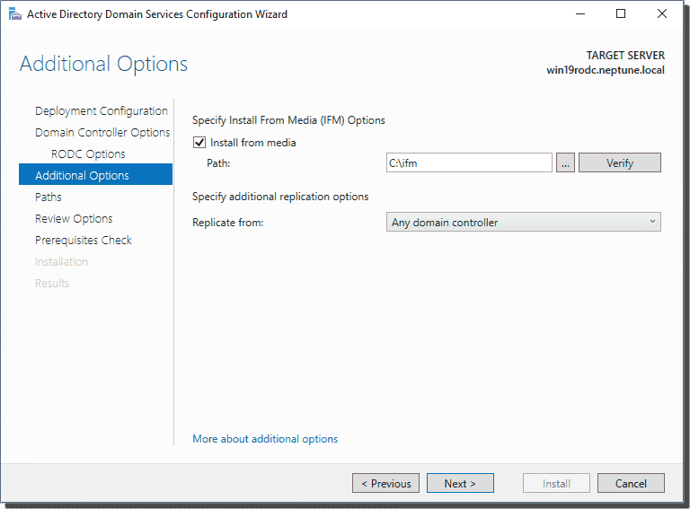 Additional options including the install from media option