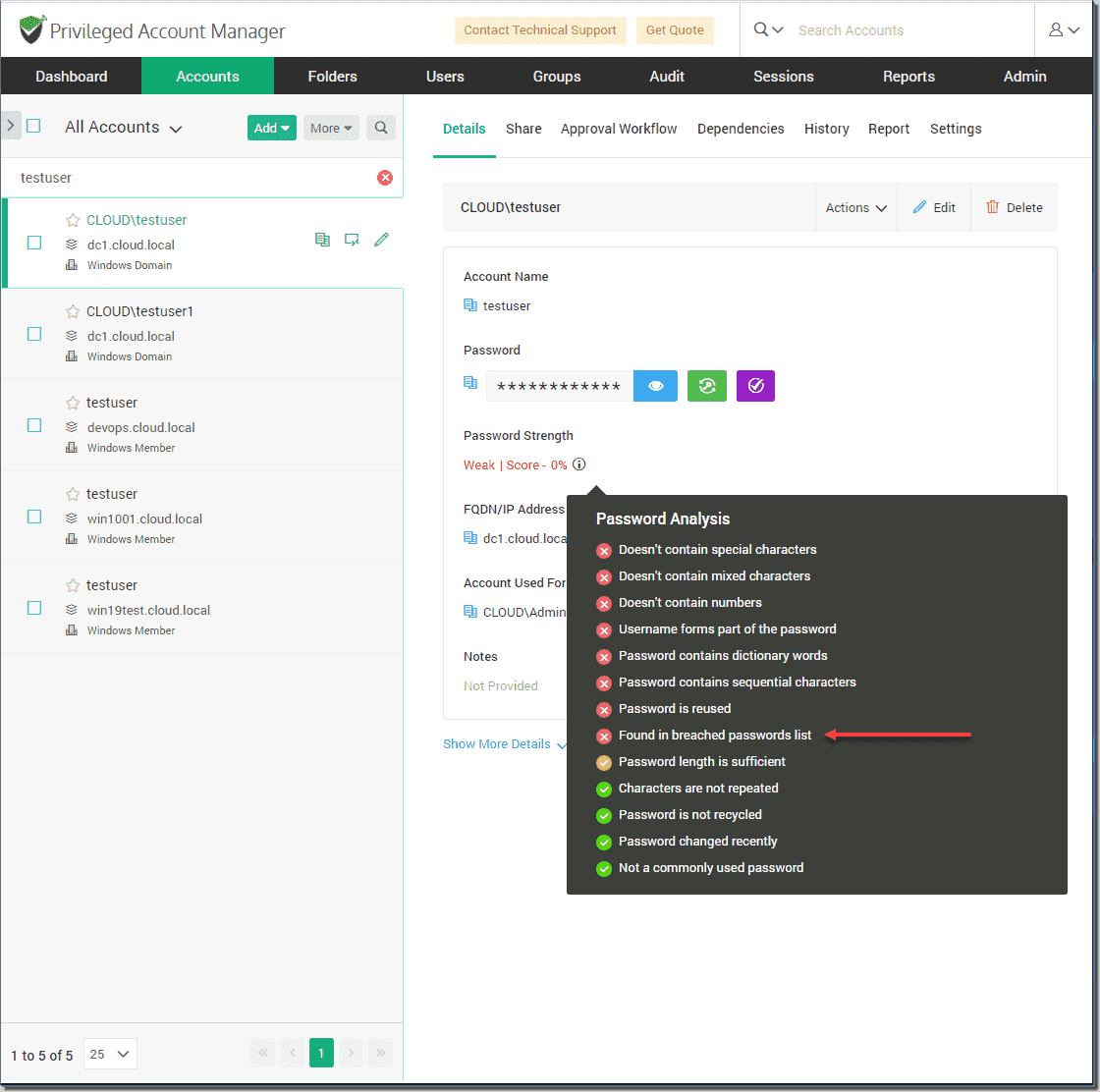 Breached password protection in Securden Unified PAM