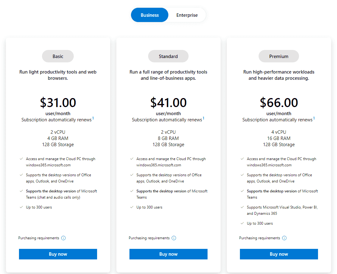 Bundled pricing for Business and Enterprise