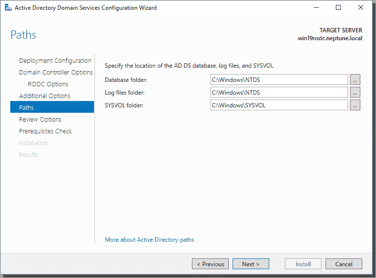 Configure path settings for Active Directory
