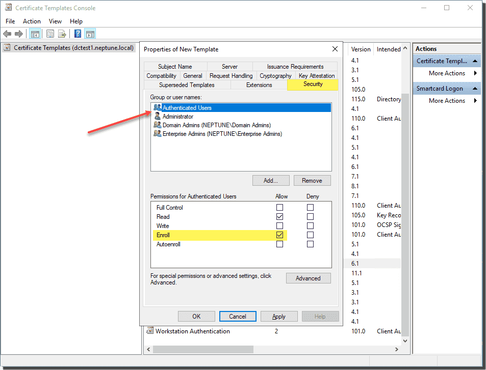 Configure the user group to be enrolled