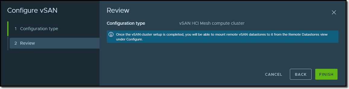 Configure vSAN compute cluster wizard