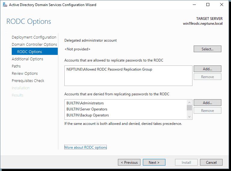 Configure your RODC options