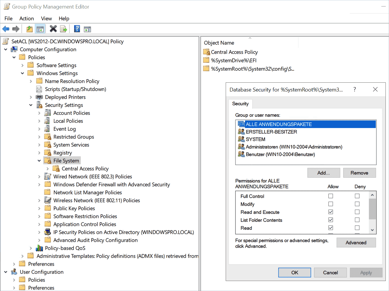 Configuring permissions for the selected directory