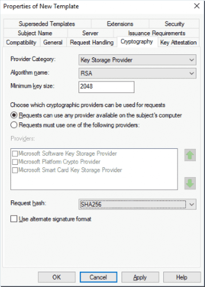 Configuring the certificate template