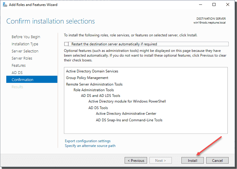 Confirm installation of Active Directory Domain Services