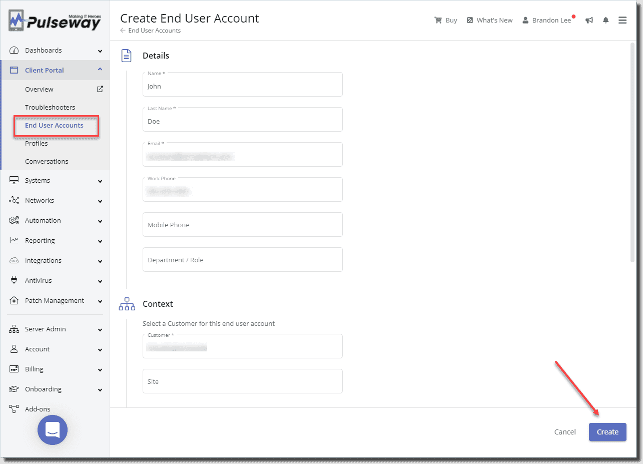 Creating a new end user account and assigning it to a customer 1