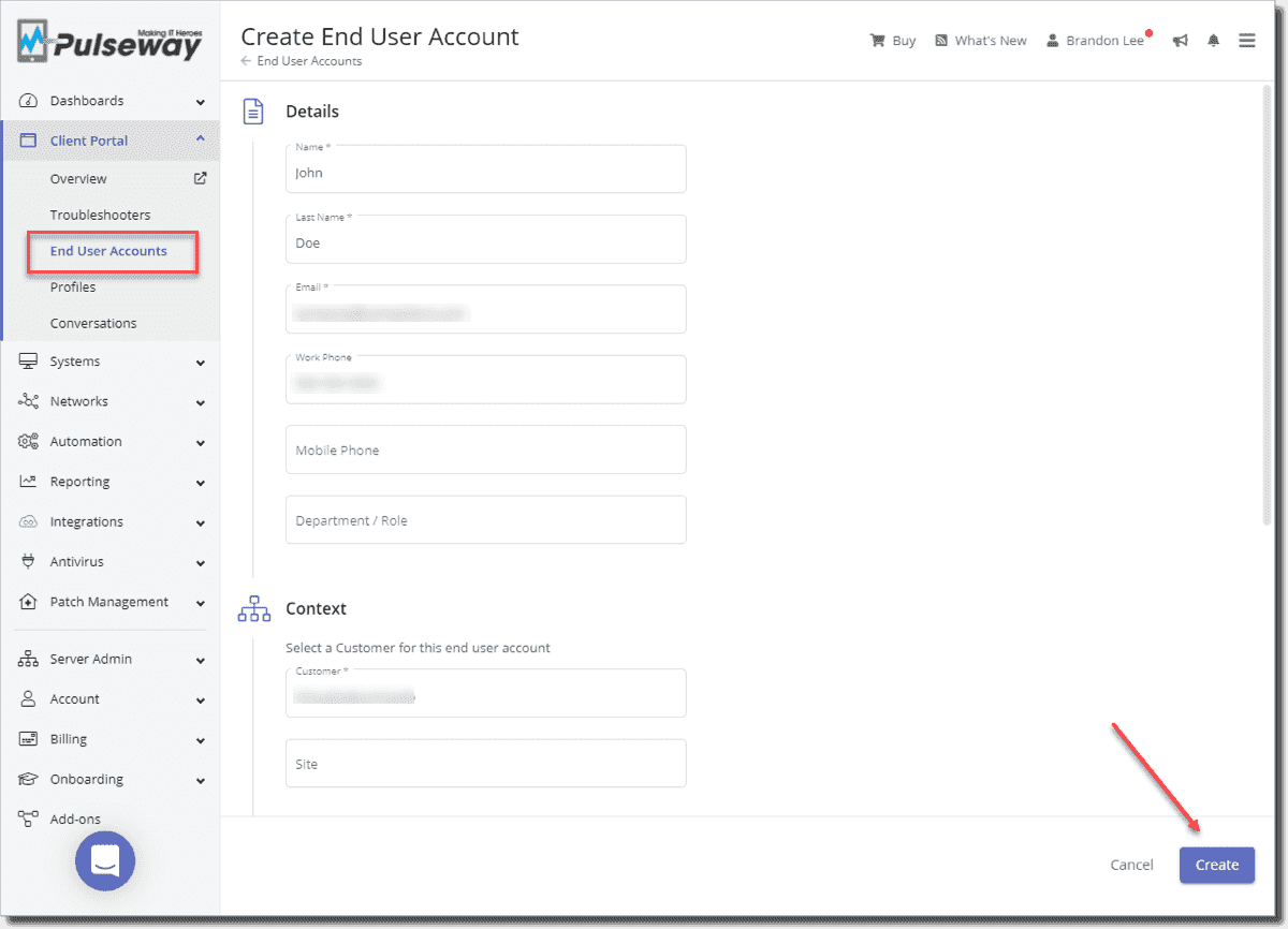 Creating a new end user account and assigning it to a customer