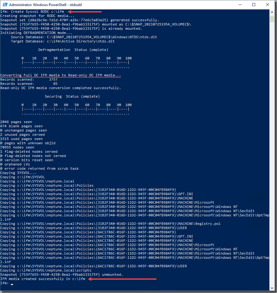 Creating the IFM media set for the read only domain controller