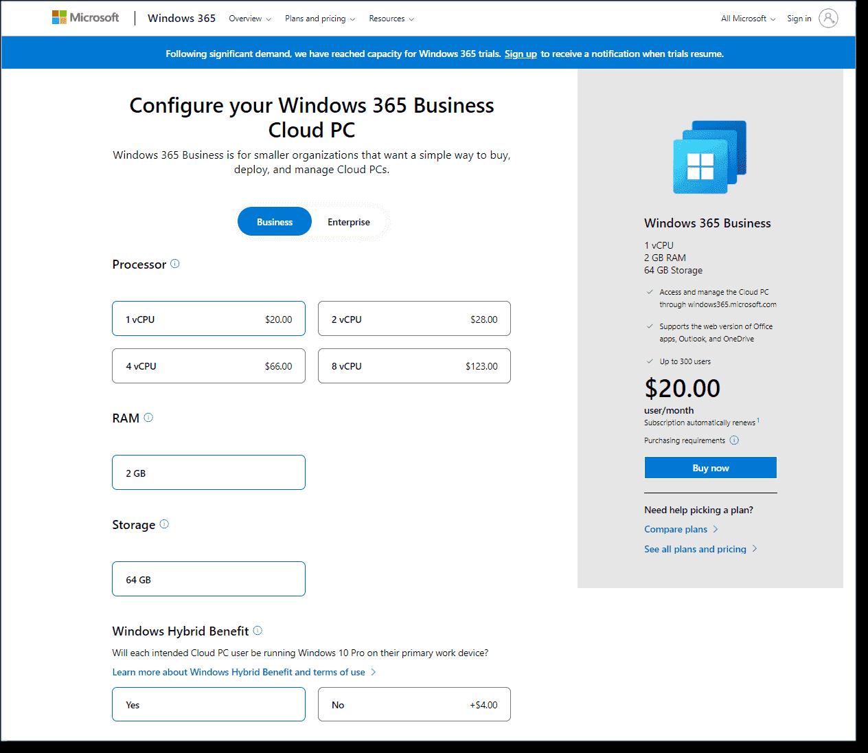 Customize the Windows 365 hardware configuration