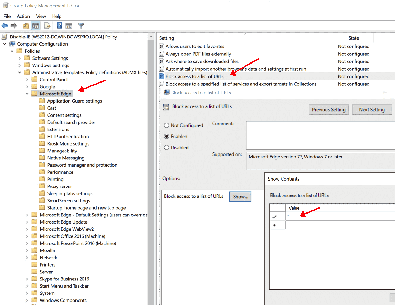Edge can be disabled via GPO by blocking all URLs