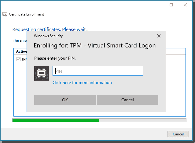 Enter your Virtual Smart Card PIN