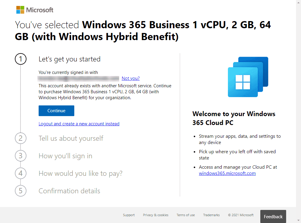 Getting started signing up for Windows 365