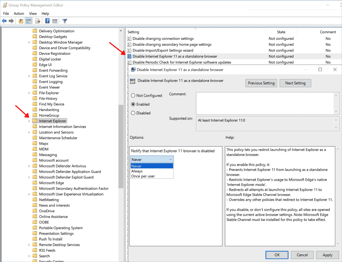 Group policy to block Internet Explorer