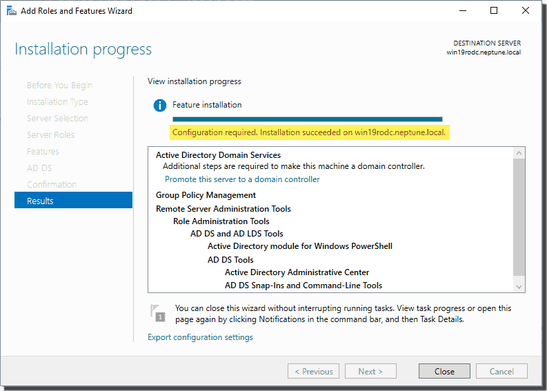 Installation successful configuration required for ADDS