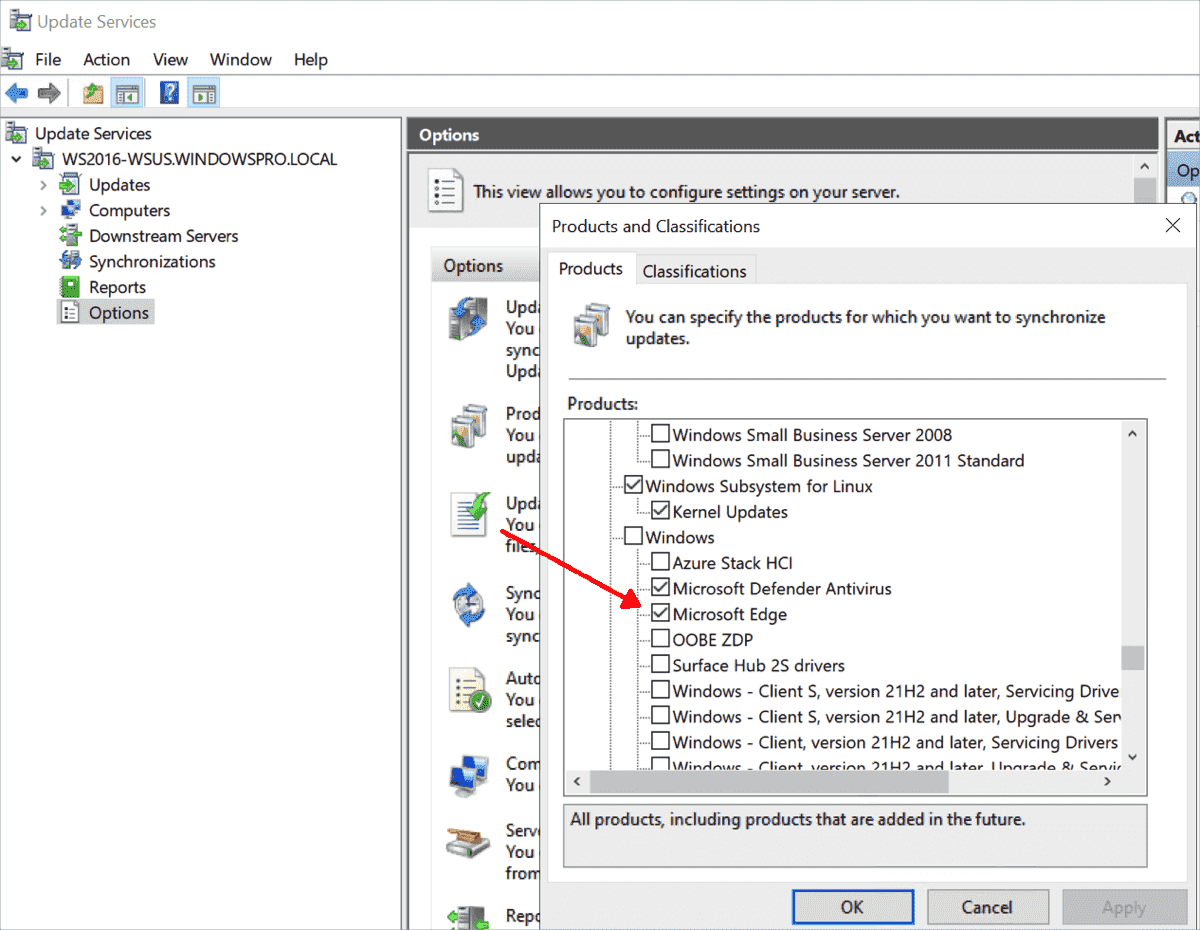 Microsoft Edge must be subscribed to in WSUS as a separate product