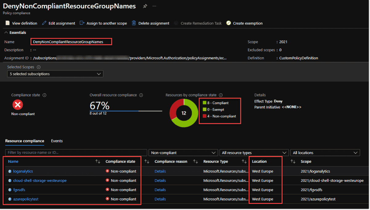 Policy compliance reports can also be checked in the Azure Portal