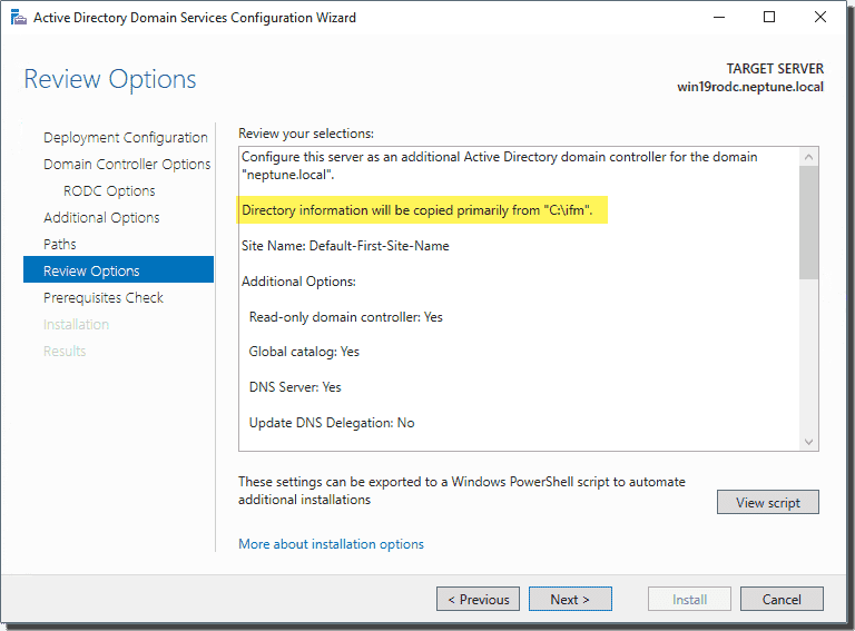 Review options of the domain controller to be promoted