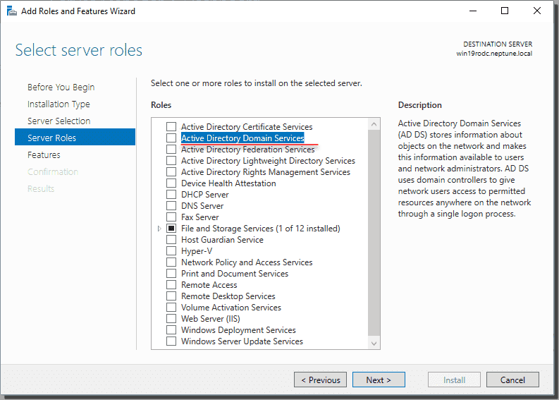 Select Active Directory Domain Services