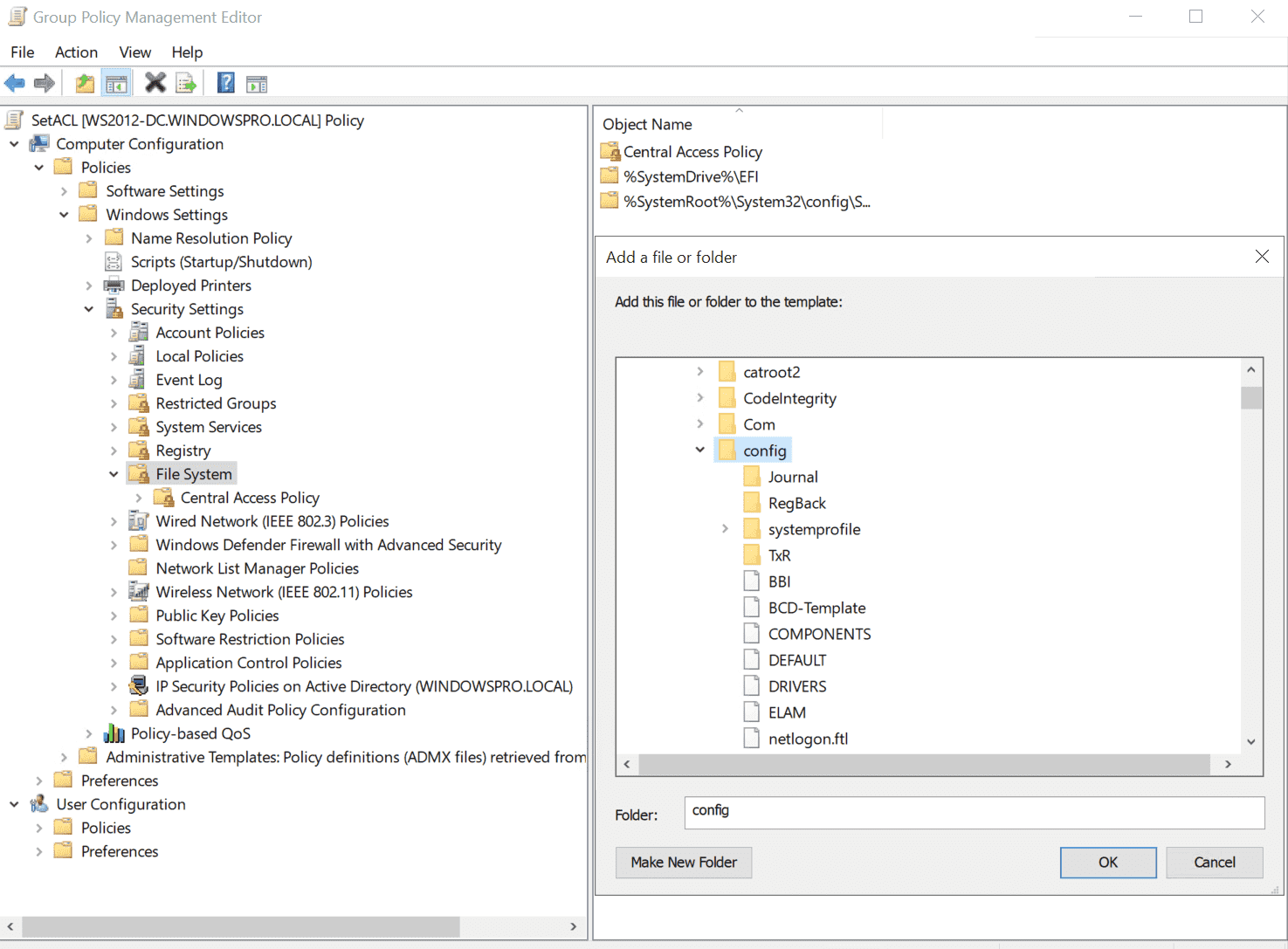 Select the directory or file for which the access rights are to be configured