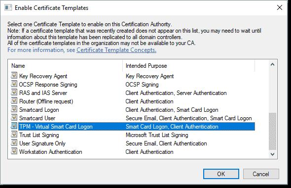 Select the virtual smart card template created