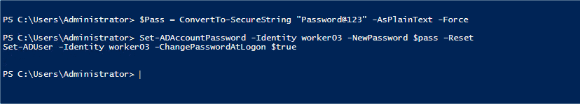 Set ADAccountPassword has no output if completed without errors
