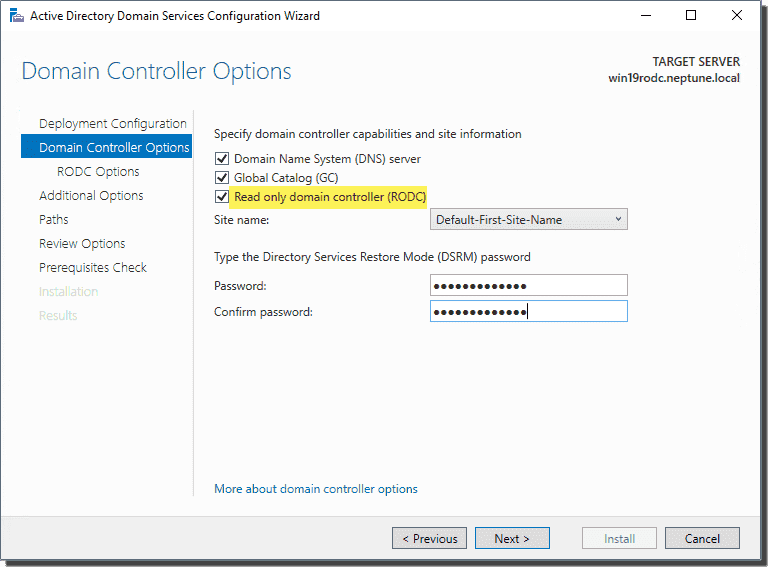 Specify domain controller options