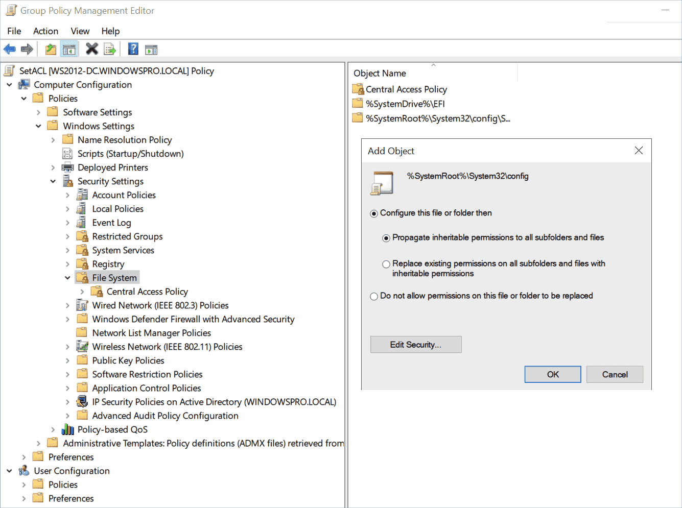 Specify how and whether the changed permissions are passed to the subfolders and files