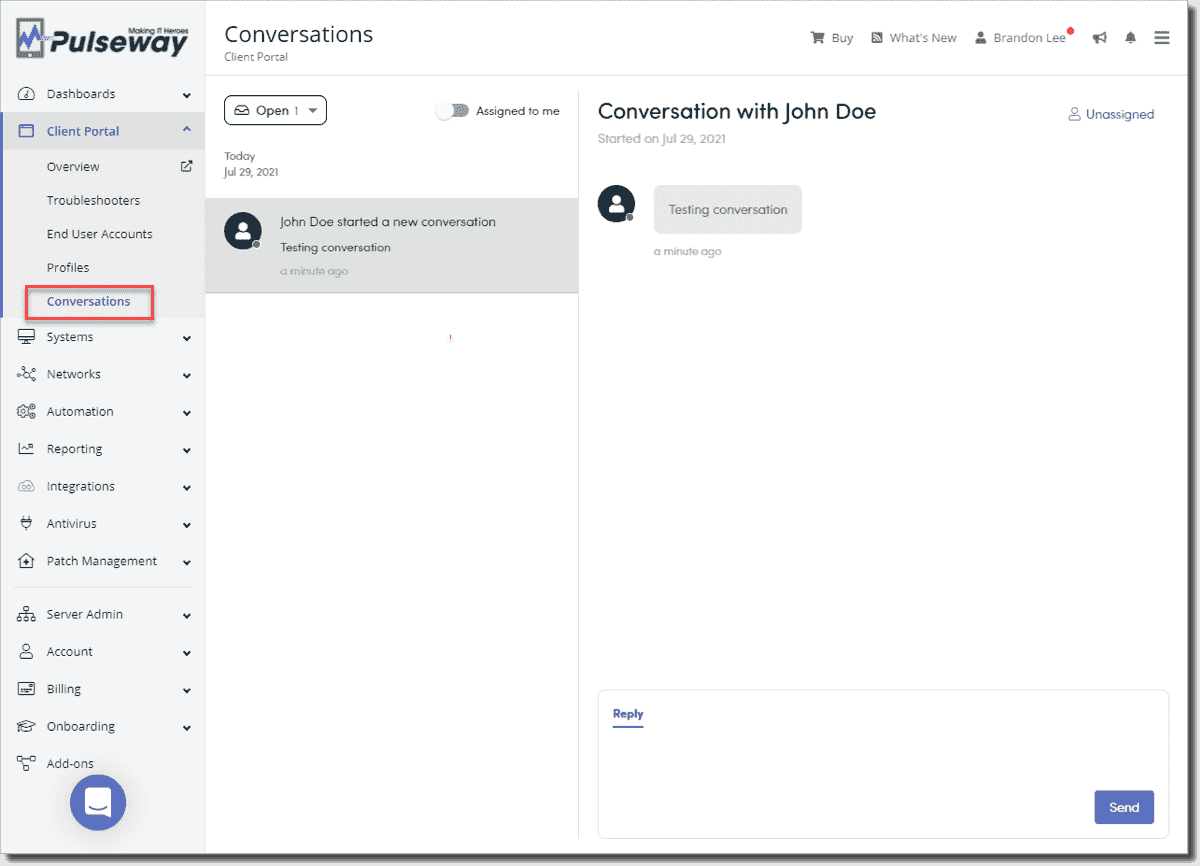 The Pulseway admin console displays the conversation created by the end user