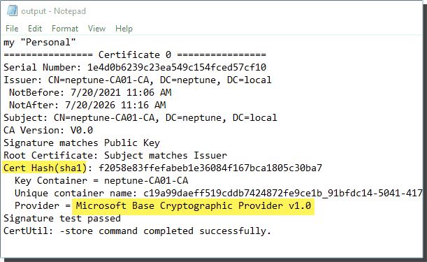 They contain the certificate hash and provider details