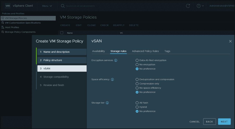 VMware storage policy enhancements