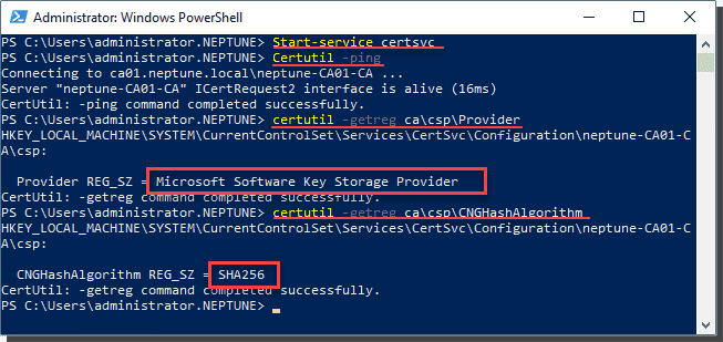 Verify all settings after the migration of the CA to SHA 1 and KSP