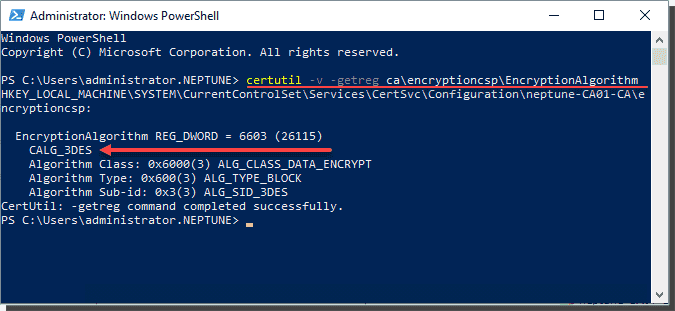 Verify the encryption algorithm for the CA