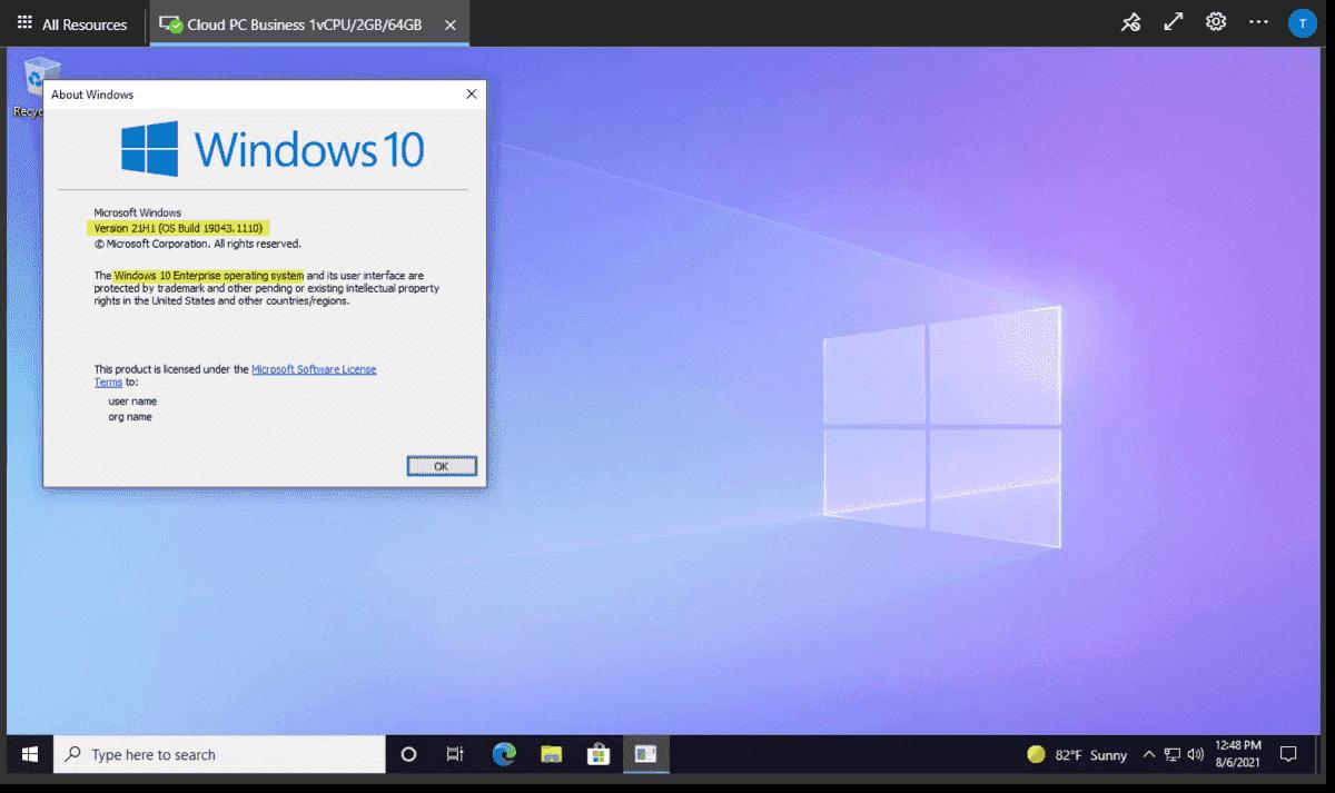 Windows 365 desktop loads in the browser