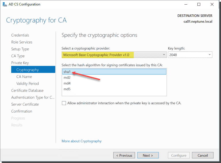 Windows Server 2019 Certificate Authority using legacy cryptography settings