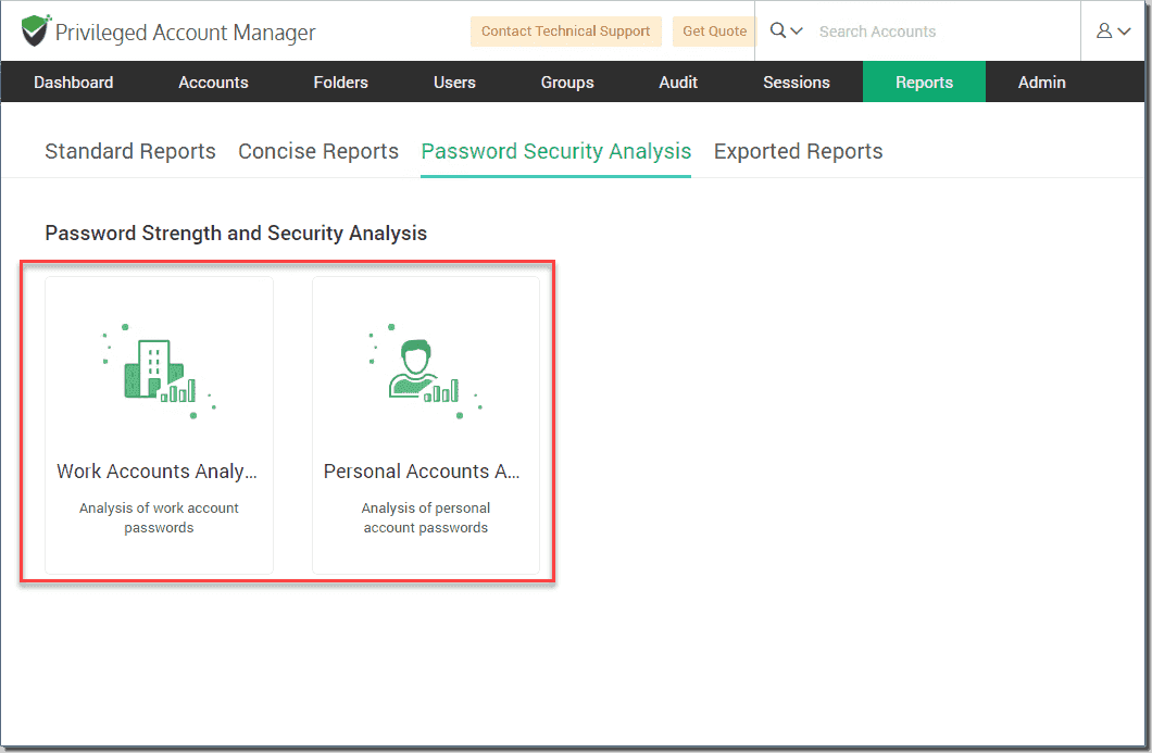 Work and personal security analysis reports available in Securden Unified PAM