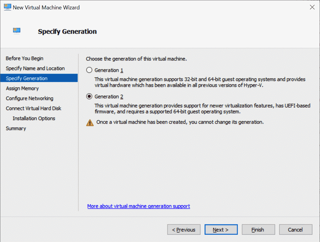 A generation 2 VM is required for Windows 11 as a guest OS