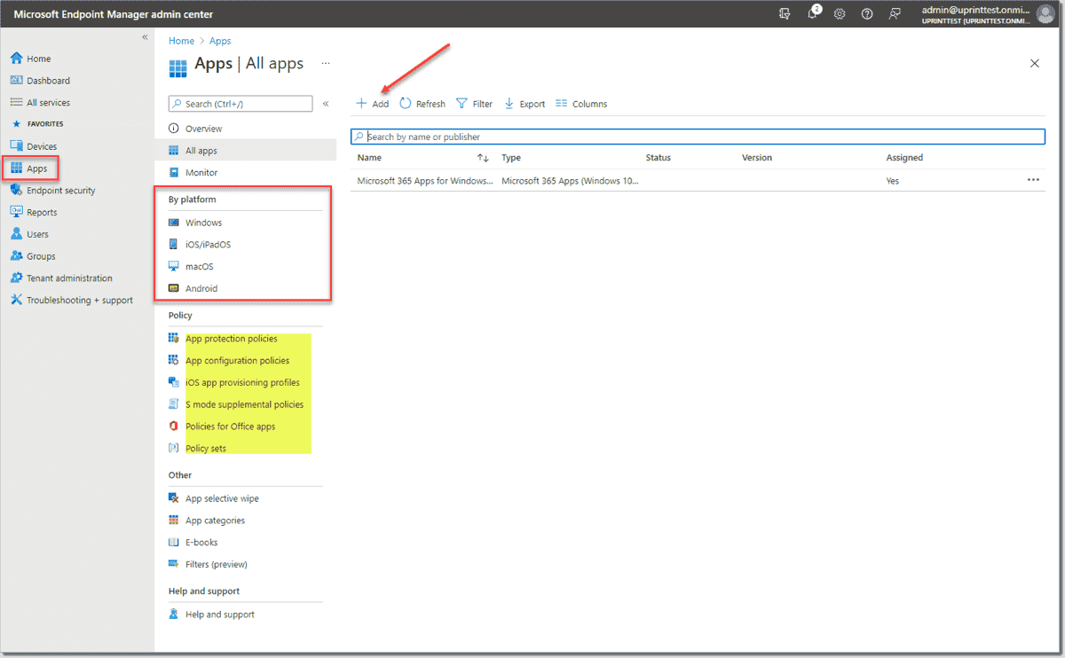 Add a new app in Microsoft Endpoint Manager