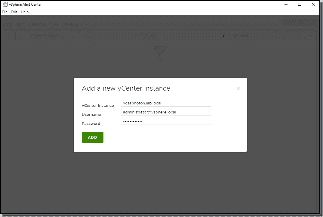 Add your first vCenter Server instance