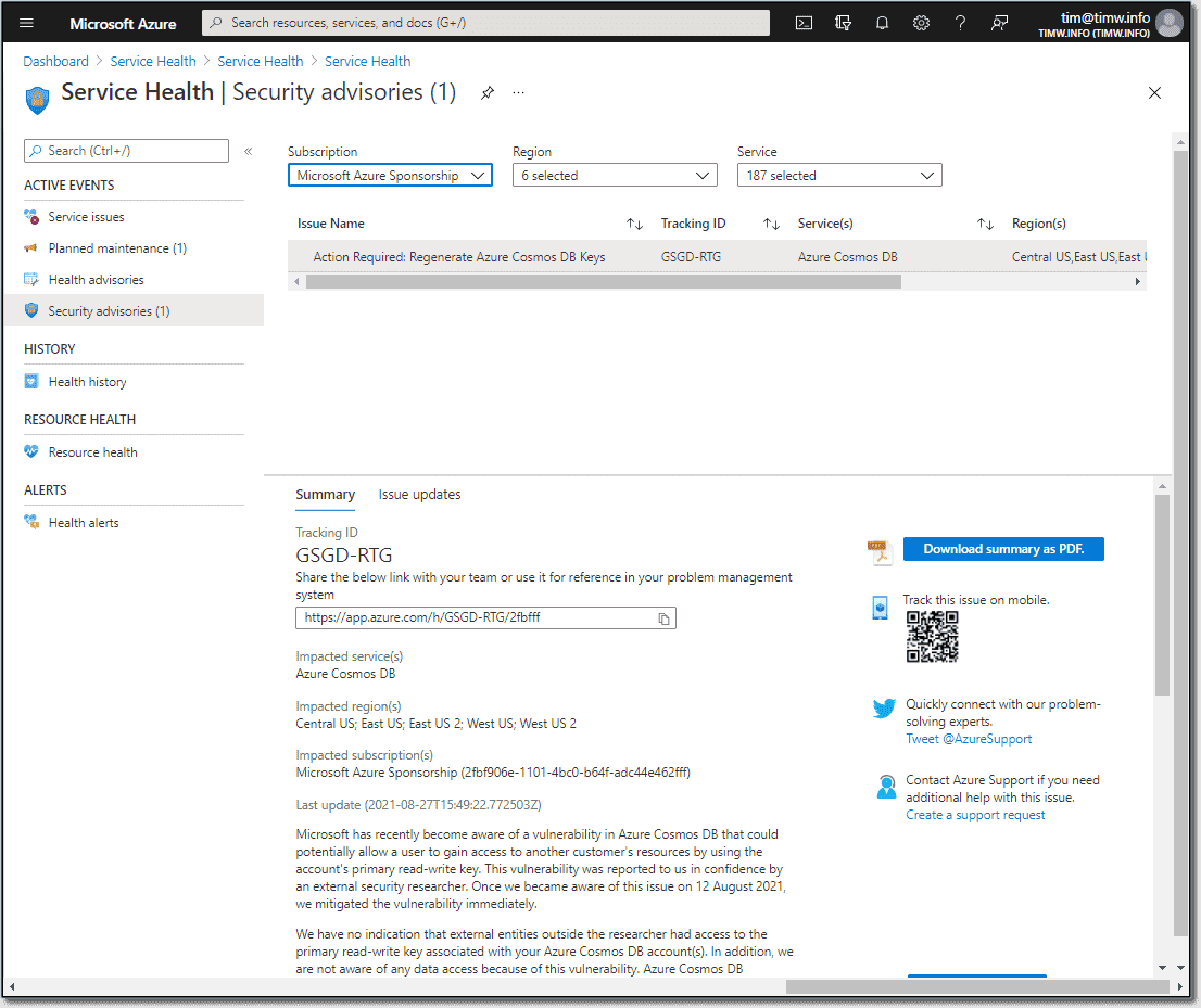 Azure security advisory concerning an infamous Cosmos DB vulnerability
