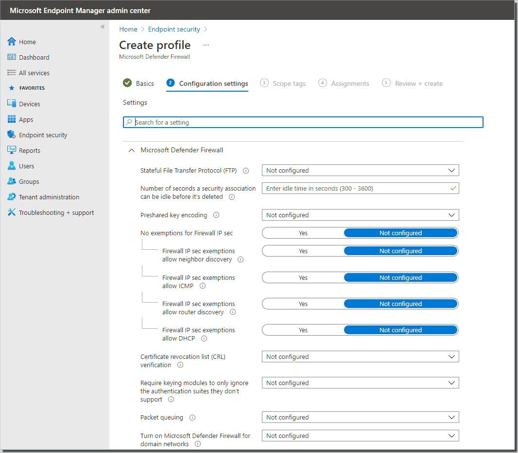 Choose Windows Firewall configuration settings to ensure the firewall is enabled